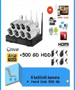 Video nadzor- 8 WiFi bežične kamere AHD+500 Gb HDD + DVR