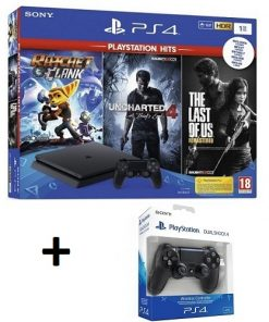 PS4 Slim + 3 igre + joypad