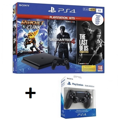 PS4 Slim + 3 igre + joypad