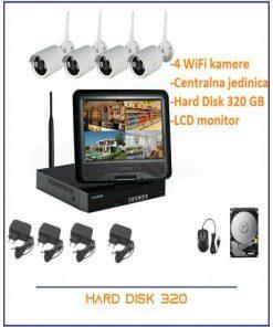 Video nadzor- 4 WiFi kamere AHD+NVR+ 320 GB HDD + LCD